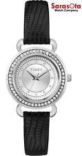 Timex T2P477 Silver Crystal Dial/Bezel Black Leather Quartz Dress Women's Watch