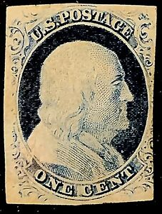 """us stamp #9 58R1L Mint NG Plate Crack Visible From Shoulder To """"N"""" of One Recut"""