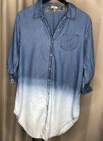 Kyla Seo ANTHROPOLOGIE Blue Denim Shirt Top Size Large ?