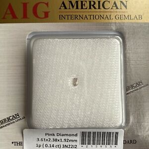 0.14ct UNTREATED Fancy Pink Loose Diamond AIG Certified Blister Oval Cut SI2 Gem