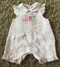 Girls Pink & White Gingham / Checked Coco Romper Suit Age 0-3 Months