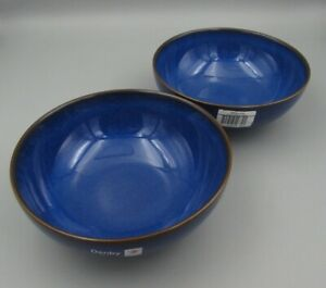 Denby China IMPERIAL BLUE Coupe Cereal Bowls - Set of Two - New