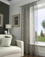 Taupe Latte Voile Harrogate Leaf Embroidered Voile Curtain Slot Top Single Panel