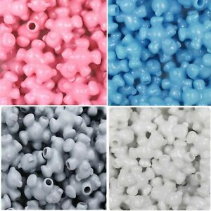 50 Teddy bear pony beads Baby pink Baby blue Grey and White Ideal dummy clips