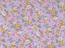 Lilac / Cream / Pink Floral Cotton Fabric (115cm wide)