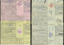 BELGIUM 1960s RAILWAY PARCEL STAMPS on FULL DOCKETS...6 DIFFERENT FRANKINGS