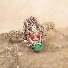 Tibetan Nepal Malachite Unisex Gemstone Magical Carved Dragon Cuff Bracelet