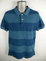 MENS TOMMY HILFIGER BLUE STRIPED BUTTON UP SHORT SLEEVE SLIM POLO SHIRT M MEDIUM
