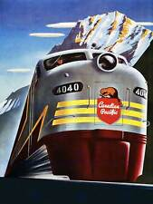 Transport canadian pacific rail mountain canada train vintage poster art 1048PY