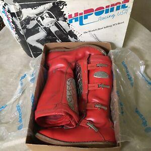 Vintage Hi-point Alpinestars Motocross Boots Size 12 1980's Original Owner & Box