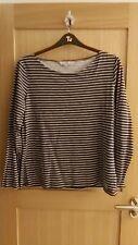 Ladies Crew Clothing Burgundy Stripe Long Sleeve Top UK Size 16