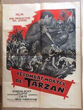 "AFFICHE CINEMA : ""Le combat mortel de Tarzan"" avec Gordon Scott 1958"