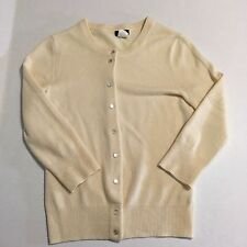J. Crew Featherweight  100% Cashmere Cardigan Sweater size XS Ivory Cream