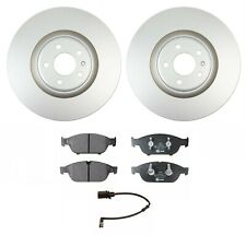 For Audi A6 A7 A8 Quattro Set of 2 Front Discs Brake Rotors & Pad Set & Sensor