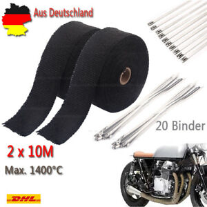 2x10M 1400° Hitzeschutzband Auspuff Band Hitzeschutz Thermoband+20 Kabelbinder