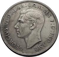 1937 AUSTRALIA - Big SILVER CROWN Coin - Great Britain UK King George VI  i57935