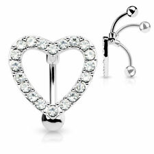 Surgical Steel Reverse Belly Button Ring w/ Gem Paved Heart