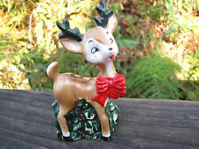 Lefton's Japan Christmas Salt Shaker Reindeer with Holly numbered #709  3.75""