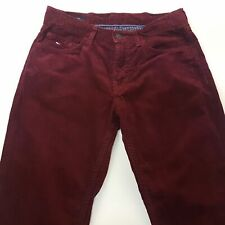 Tommy Hilfiger MERCER Mens Corduroy Jeans W31 L30 Burgundy Regular Fit Straight