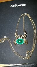 Betsey Johnson Small Green Crab Pendant Necklace -NEW