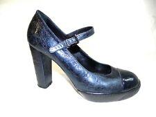 HOGAN Leather Court Shoes Size 37 UK 4-4,5 Block Heel