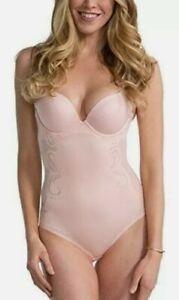 NWT Spanx Haute Contour Pink Deco Body  suit Size 38D push up slimmer bra