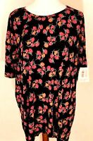 NWT Lularoe Size Medium Stretchy Black Red Flowers Women's Irma T Shirt Top