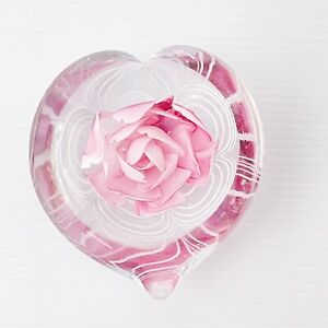 Vintage PINK Rose Glass Paperweight 80s Heart Shaped Paper Weight Cottage Core