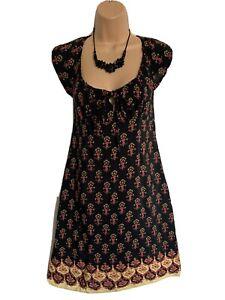 KOOKAI UK8/10 Black Mix Pretty Lightweight Patterned Shift Style Dress Vgc