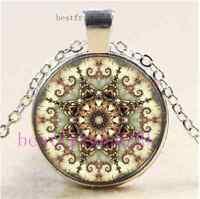 New Mandala Photo Cabochon Glass  Tibet Silver Pendant Necklace