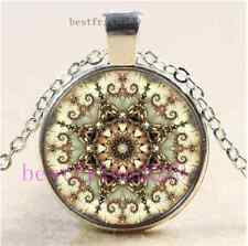 New Mandala Photo Cabochon Glass  Tibet Silver Pendant Necklace