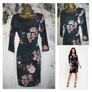 LADIES WALLIS WRAP DRESS SIZE 14, Navy Blossom Floral Occasion Party Dress