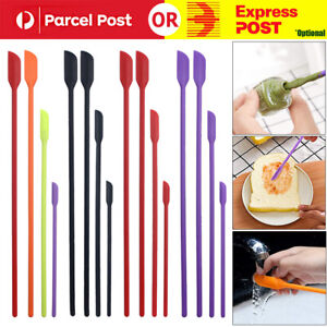 4x Silicone Mini Spatula Jar Scraper Scoop Tip Long Spatula Cosmetic Bottle B8A3