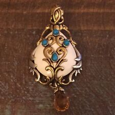 Carolyn Pollack Sterling Silver White Agate Turquoise Citrine Pendant Enhancer