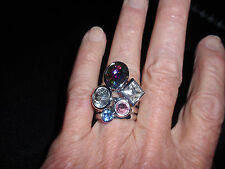 "Park Lane Jewelry, ""High Five"" Ring, S-10, Multi Colored Gems, Silvertone New!"