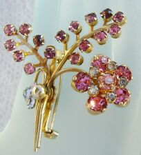 Vintage CORO Pink Rhinestone Floral SPRAY Pin Brooch