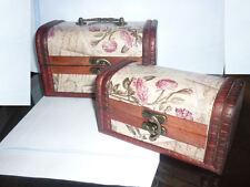 COPPIA SCRIGNO BAULE COLONIALE vintage portagioie legno ottone artigianale mano