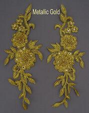 2 Stück Venise Spitze Bestickt Blumen Applikation Verzierung Motive Farbe:M Gold