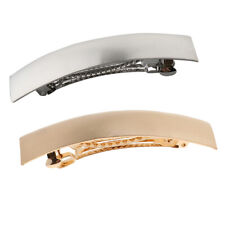 2pcs Chic Automatic French Barrette Metal Hair Clip Headwear Ponytail Holder