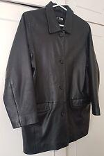 MY SIZE Black Leather Coat Jacket Blanket stitching SIZE XS14 STUNNING SOFT FEEL