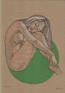 original drawing A3 457DO art samovar Pastel modern sketch female nude Signed