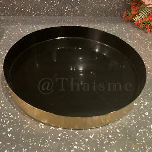 24cm Round Brushed Gold Effect Black Metal Candle/Vanity/Serving/Bathroom Tray