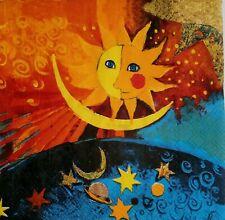 4 Servilletas decoradas sol,luna.Napkins decoupage Sun,moon Rosina Wachtmeister