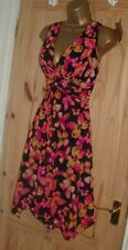 Jane Norman pink black floaty stretchy grecian butterfly dress size 8 10