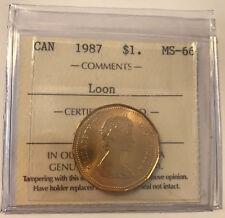 1987 Canada LOONIE $1 One Dollar ICCS MS66 **NO TAX**