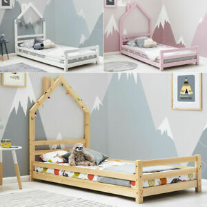 Kids Children Treehouse Solid Pine Wood Single Bed Frame White/Pink/Pine    BSD