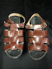 Women Bata Quovaidis Brown Leather Sandals Cross Over Weaved Buckle  8