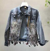Womens tassel sequins denim jacket Hole Rhinestone denim jeans jacket outwear
