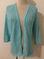 Coldwater Creek Open Drape Cardigan Sweater Aqua Blue Open-Knit Size XS (4-6)