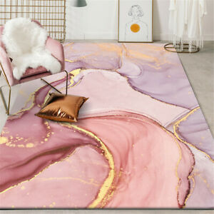 Pink Gold Oil Painting Abstract Carpet Room Romantic Purple 3D Anti-Skid Rugs
